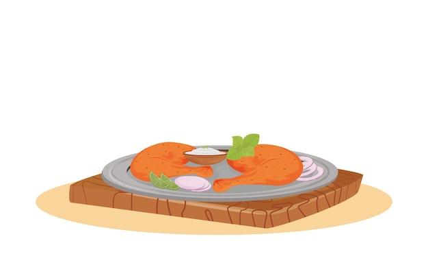 Tandoori chicken cartoon illustration