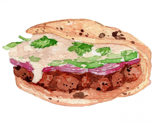 Tandoori sandwich watercolor drawing illustration