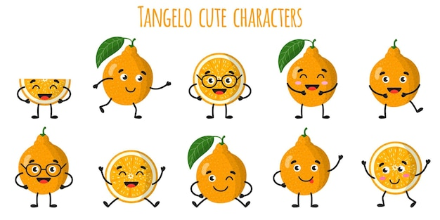 Tangelo citrus fruit cute funny cheerful characters with different poses and emotions. natural vitamin antioxidant detox food collection.   cartoon isolated illustration.