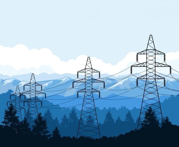 Касательные башни в горах, опоры высоковольтных линий электропередач, электроснабжение