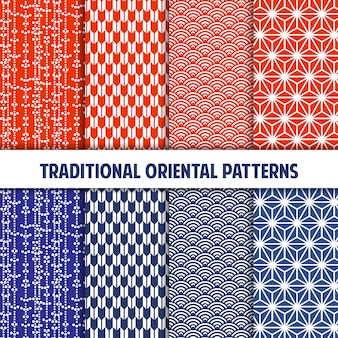 Tangerine and blue collection of japanese seamless patterns