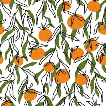 タンジェリンの枝のシームレスなパターン夏の柑橘系の果物ベクトルトレンディな手描きの背景