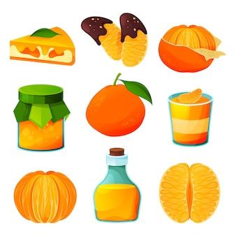 Мандариновые фруктовые пищевые продукты, векторные сокосодержащие напитки и сладкие десерты.