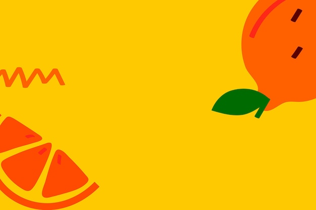 Tangerine fruit on a yellow background design resource
