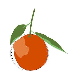 みかんイラスト分離ベクトル。オレンジ色。新鮮な果物。健康食品。デザイン要素。