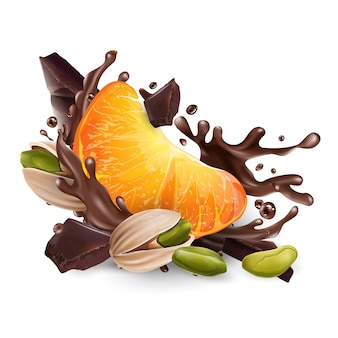 Tangerine and pistachios with chocolate pieces and splashes.