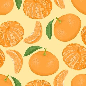 Tangerines seamless pattern