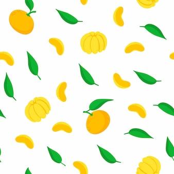 Tangerines seamless pattern.