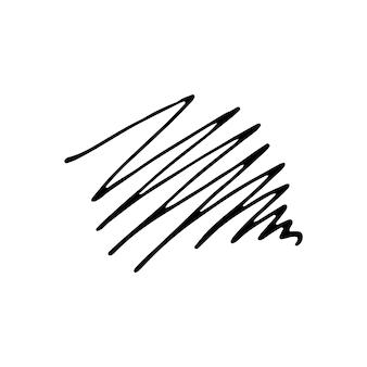 手描きの線でもつれた抽象的な落書き。要素を落書きします。白い背景の上の孤立したスケッチ。ベクトルイラスト