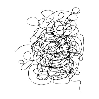 Tangled abstract scribble with hand drawn line doodle elements