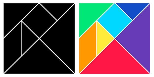 Tangram black and colorful base square brain game Premium Vector