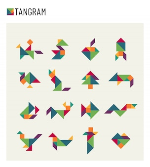 Tangram children brain game cutting transformation puzzle set