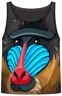 Tank top with face of mandrill monkey pattern