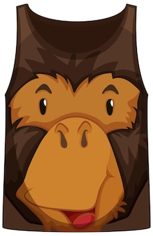 Tank top with face of monkey pattern