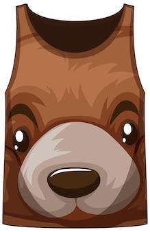 クマ柄の顔のタンクトップ