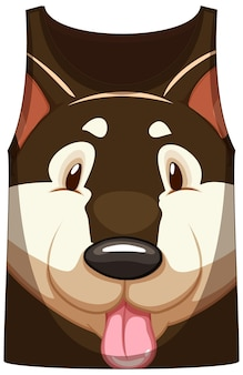 Tank top with face of shiba dog pattern