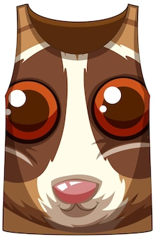 Tank top with face of slow loris pattern
