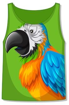 オウムの鳥のパターンのタンクトップ