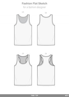 Модельный плоский технический чертеж без рукавов tank top