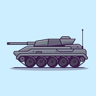 Tank vehicle cartoon vector icon illustration. military transportation icon concept isolated vector. flat cartoon style