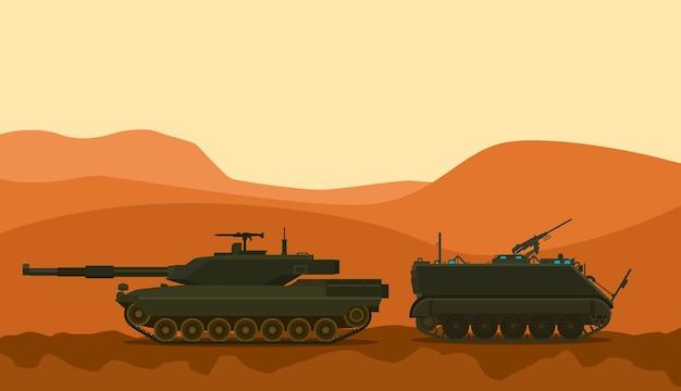 Tank war desert warrior with mountain background