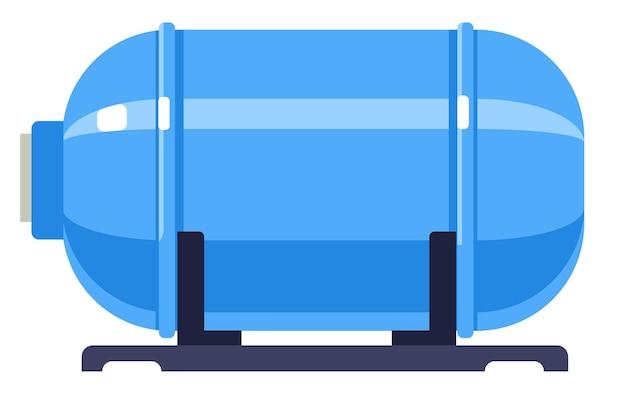 Tank with dangerous liquid, isolated cylinder containing fuel or gas, flammable petroleum, propane or butane. industrial or domestic purposes. gasoline or methane in balloon. vector in flat style