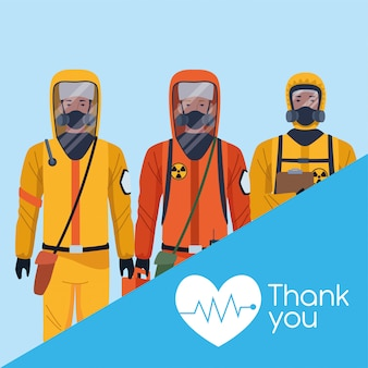 Tank you doctors with biosafety suit illustration design