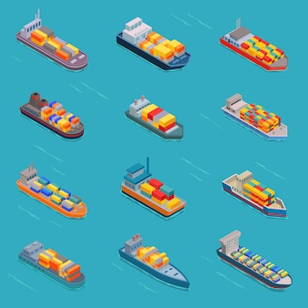 Tanker oil bulk isometric tank ships or cargo boats transport and isometry transportation by sea or ocean set illustration oiled vessel isolated on white background