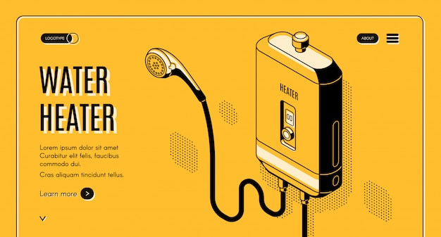 Tankless water heater isometric line art illustration