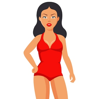 Tanned girl in a closed red swimsuit. flat character  .