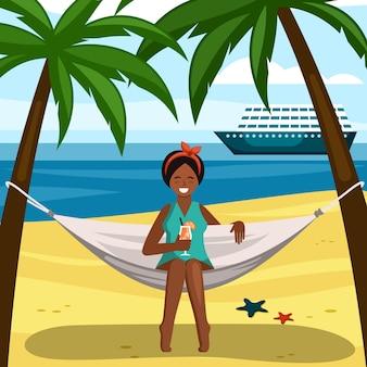 칵테일 일러스트와 함께 해먹에 그을린 소녀입니다. 어린 소녀는 푸른 바다와 항해하는 여객선이 내려다보이는 열대 노란색 해변에서 휴식을 취하는 것을 즐깁니다. 벡터 만화 휴가입니다.