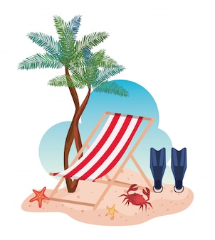 Tanning chair with fin water equipment and palms trees