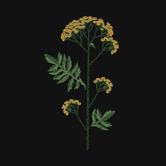 검은색 바탕에 노란색과 녹색 실로 자수를 놓은 탠시. 야생 꽃이나 초원 꽃 허브와 함께 아름다운 자수 디자인. 바느질이나 손으로 만든 작업. 벡터 일러스트 레이 션.
