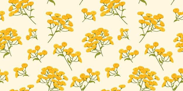 黄色い花を持つ植物のタンジーパターン植物画