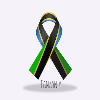 Tanzania flag ribbon design