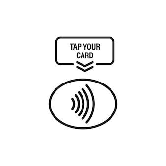 카드 아이콘을 탭합니다. nfc. 단말기는 신용 카드로 비접촉식 결제를 확인합니다. 격리 된 흰색 배경에 벡터입니다. eps 10.