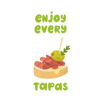 タパスの伝統的なスペインのスナックは、ハモンとオリーブでカナッペをサンドイッチするすべてのタパスをお楽しみください