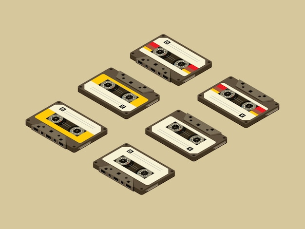Tape cassette isometric on brown