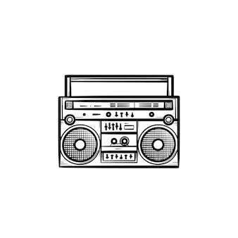 ラジオ手描きアウトライン落書きアイコンとテープレコーダー