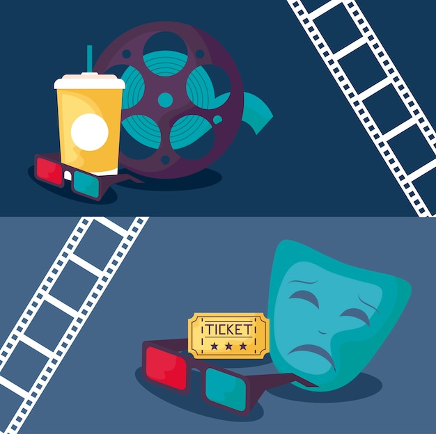 Tape reel with set icons cinema