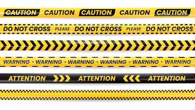 Tapes of danger caution, yellow black police line,  safety warning sign. danger tapes with attention, do not cross and warning caution, trespass barrier, dangerous area security borders