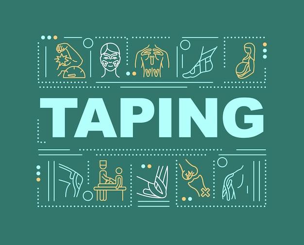 테이핑 단어 개념 배너입니다. 재활 기술. 부상 예방.