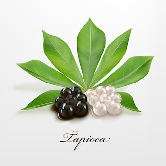 Tapioca black and white pearls