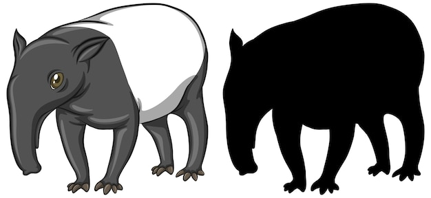 Tapir characters and its silhouette on white background