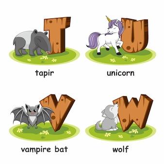 Тапир единорог вампир летучая мышь волк деревянный алфавит животные