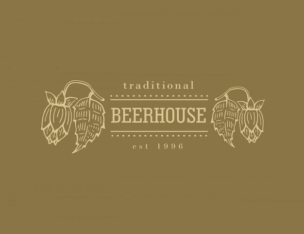 ビールの家、バー、パブ、醸造会社、醸造所、居酒屋、taproom、alehouse、beerhouse、dramshopレストランのオリジナルのビンテージレトロラインアートバッジロゴ