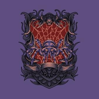 Tarantula with ornament illustration