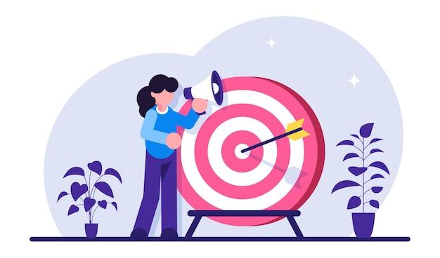 목표 달성, 동기 부여, 성공적인 계약. 확성기를 가진 여자는 목표 근처에 서있다. 비즈니스 비전.