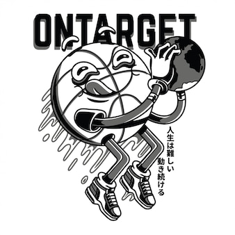 On target black and white illustration