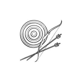 ターゲット、弓と矢印の手描きのアウトライン落書きアイコン。アーチェリースポーツ、ブルズアイ、ターゲットボードのコンセプト。白い背景の上の印刷、ウェブ、モバイル、インフォグラフィックのベクトルスケッチイラスト。
